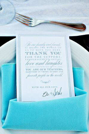 Turquoise Place Setting and Thank-You Card
