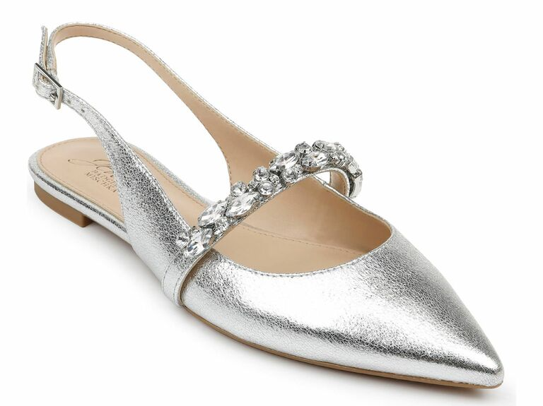 silver slingback flat with strap
