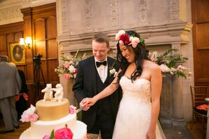 Whimsical Bride and Groom Cutting the Cake