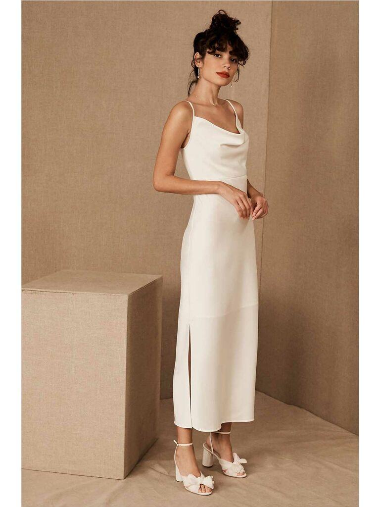 Ivory silk cowl-neck dress