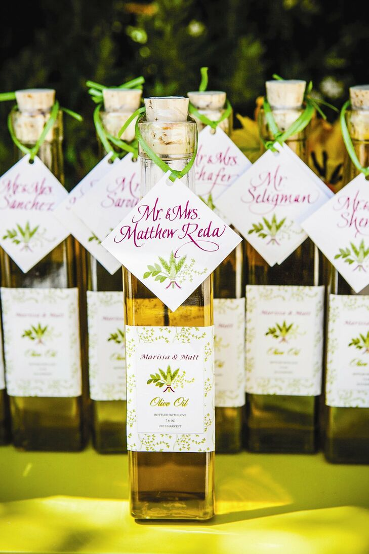 Bottles of Italian olive oil provided guests with their seating assignment and a favor to take home.