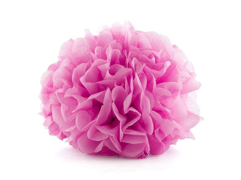 Pink tissue paper flower for decorating wedding car