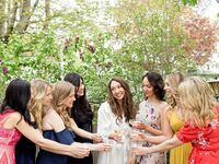 Bride toasting with loved ones.