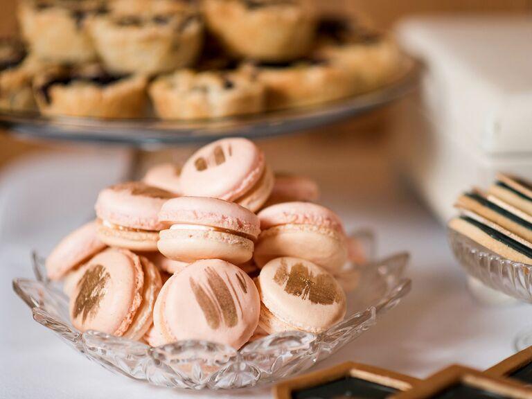 pink and gold macaron wedding dessert