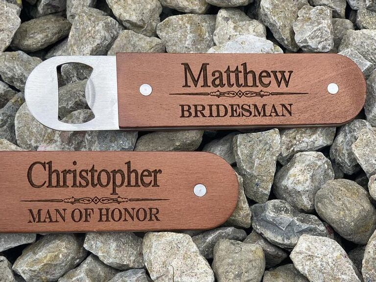 Inexpensive Bridesman and Man of Honor bottle opener gifts