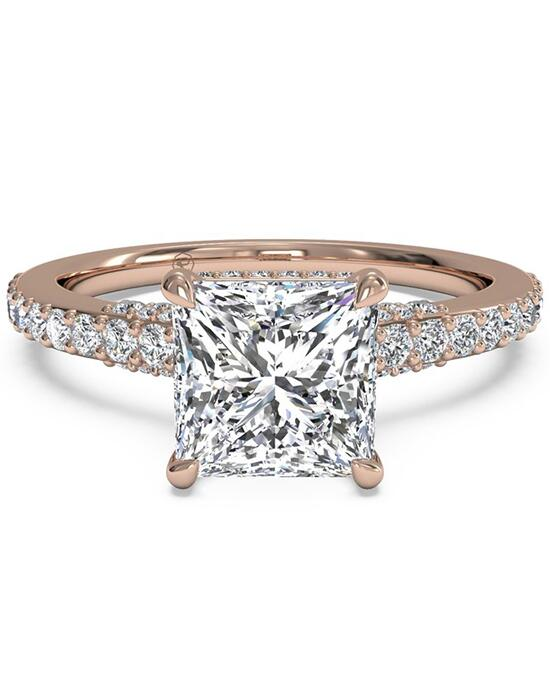 Ritani French-Set Diamond Band Engagement Ring - in 18kt Rose Gold for a Princess Center Stone Engagement Ring photo