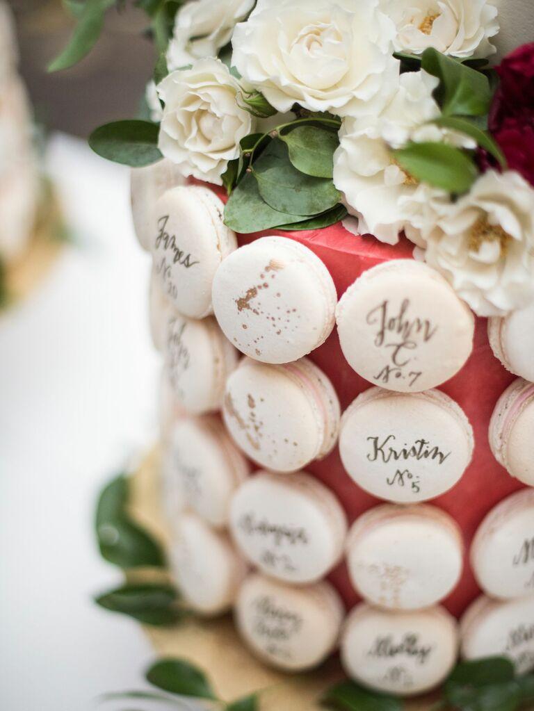 white macaron wedding escort cards