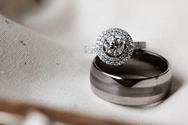 Double Halo Round Diamond Engagement Ring and Wedding Band