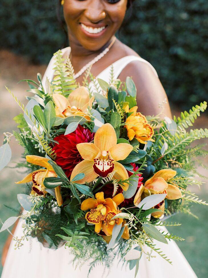 Orange Orchid Bouquet at Ballantyne Country Club Wedding in Charlotte, North Carolina