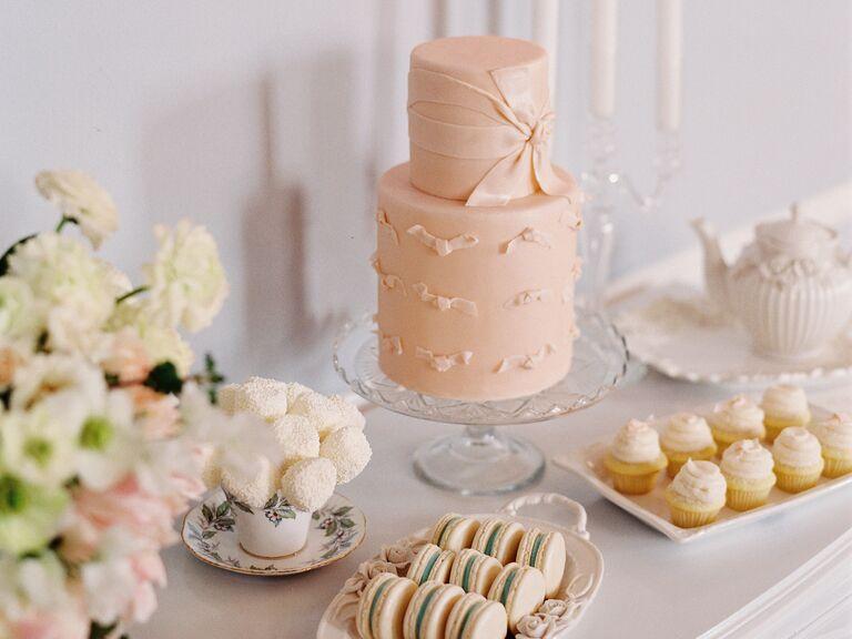 Peach bow tie bridal shower cake