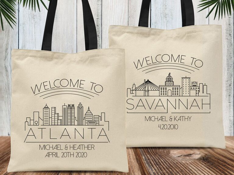 Atlanta and Savannah wedding welcome bags with illustrated skylines