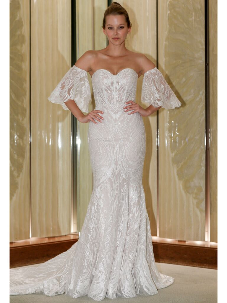 Randy Fenoli Fall 2019 Bridal Collection strapless sweetheart wedding dress with off the shoulder puff sleeves and floral embroidery