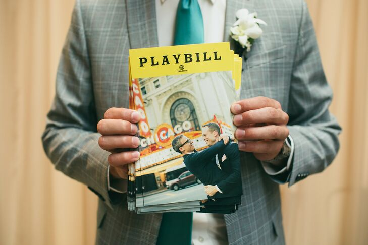 Playbill-Inspired Wedding Programs at Ovation in Chicago, Illinois