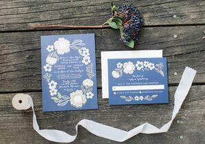 Navy Floral Invitations