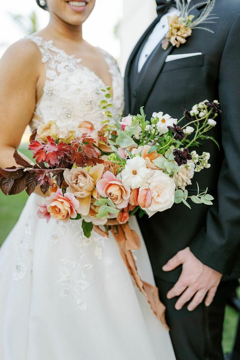 Burgundy-and-pink wedding bouquet