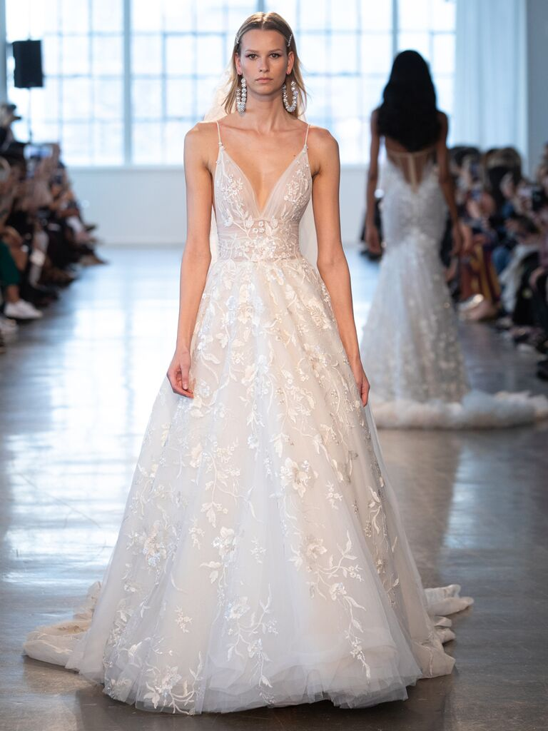 Berta Spring 2020 Bridal Collection A-line floral-embroidered wedding dress