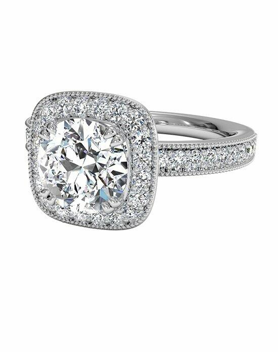 Ritani Vintage Cushion Halo Diamond Band Engagement Ring in Platinum (0.41 CTW) Engagement Ring photo