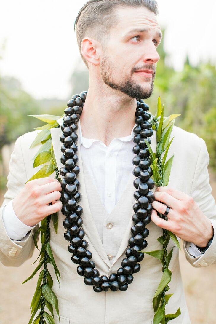 Groom Wearing Traditional Hawaiian Leis