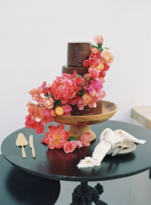 Three-Tiere Wedding Cake with Luscious Cascading Flowers