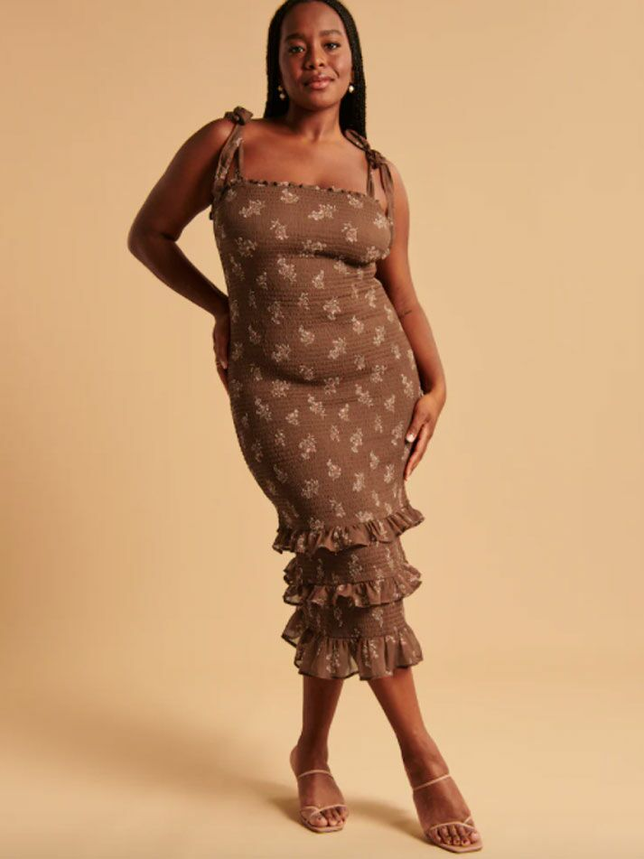 Brown smocked midi fall wedding guest dress with tie straps