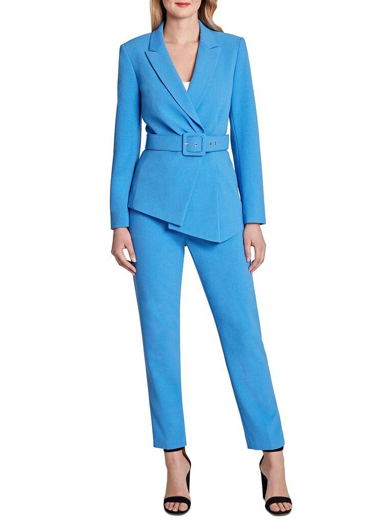 macys light blue mother of the bride pant suit with belt