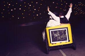 Newlyweds in Pedicab Getaway Car
