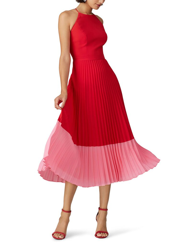 Red and pink pleaded colorblock midi dress with high neckline