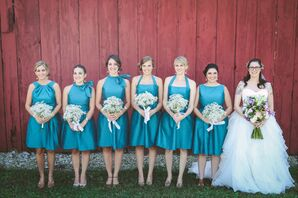 Blue Bridesmaid Dresses with Baby's Breath Bouquets