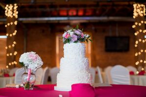 Buttercream Wedding Cake And Fresh Flowers