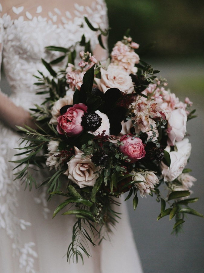 moody pink-and-black bouquet