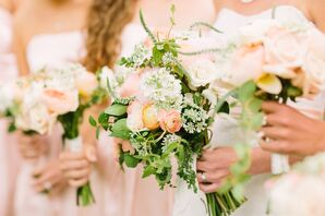 Ranunculus, Rose, Veronica, Sweet Pea Bouquet