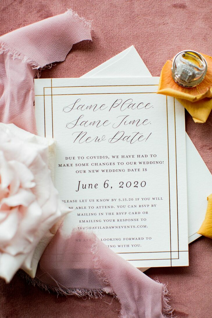 Gold-and-White Invitations for Wedding at Stone River in Columbia, South Carolina
