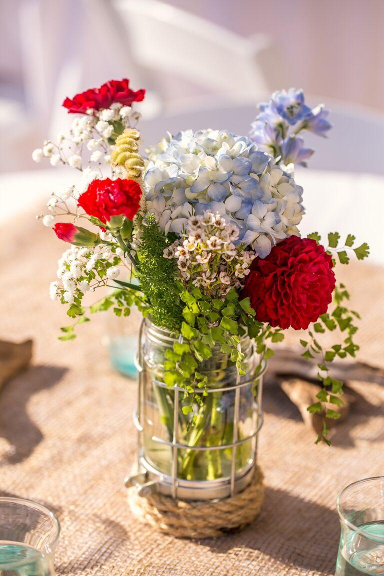 Hydrangea Dahlia Red White and Blue DIY Centerpiece