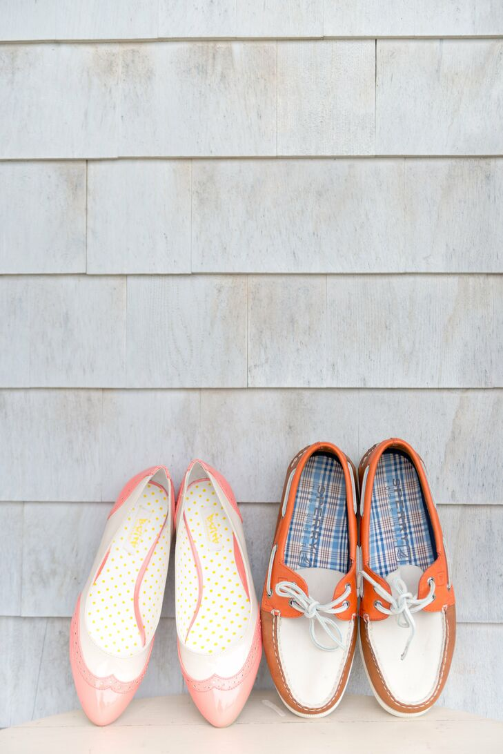 Both Laura and Lee opted for casual kicks. Laura chose a pair of pink wingtip flats, while Lee selected laidback Sperry boat shoes in cream, orange and tan.