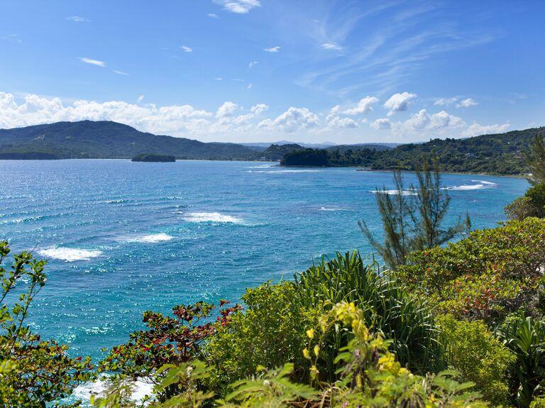 Blue skies and caribbean sea off of Jamaican coastline