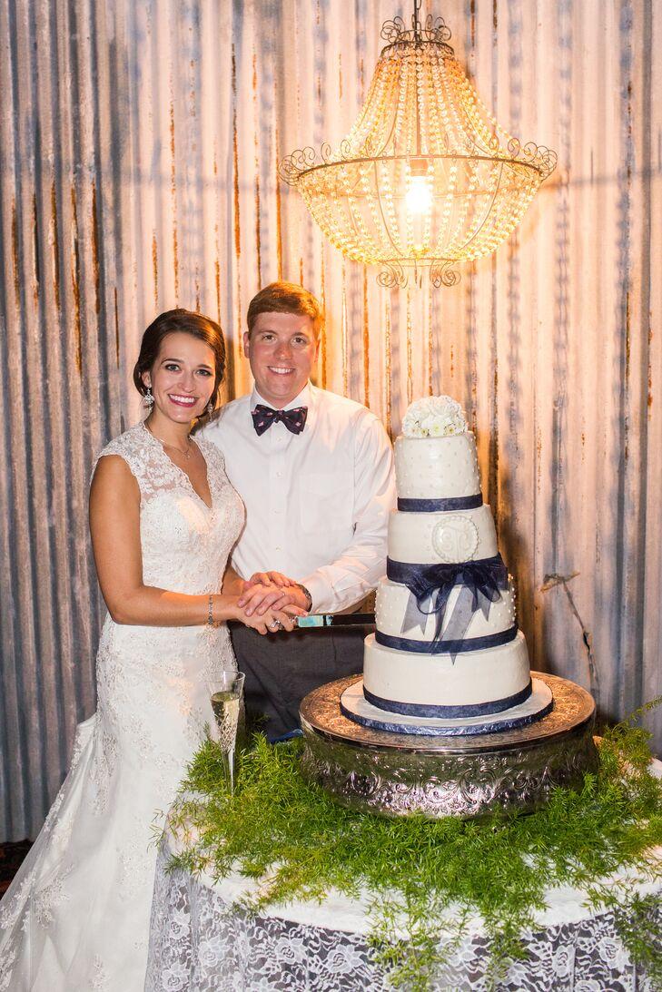 Four-Tier Navy and White Wedding Cake