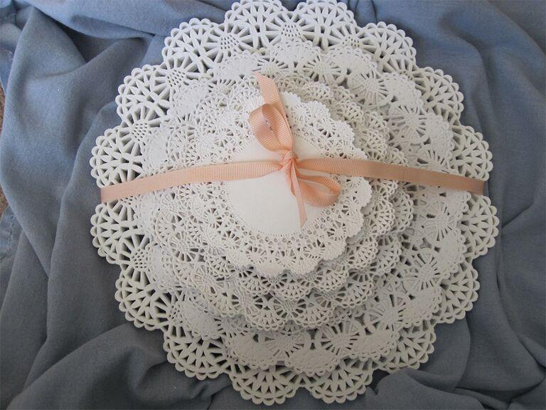 Round white lace doily set