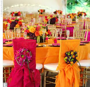 Bold color wedding centerpieces