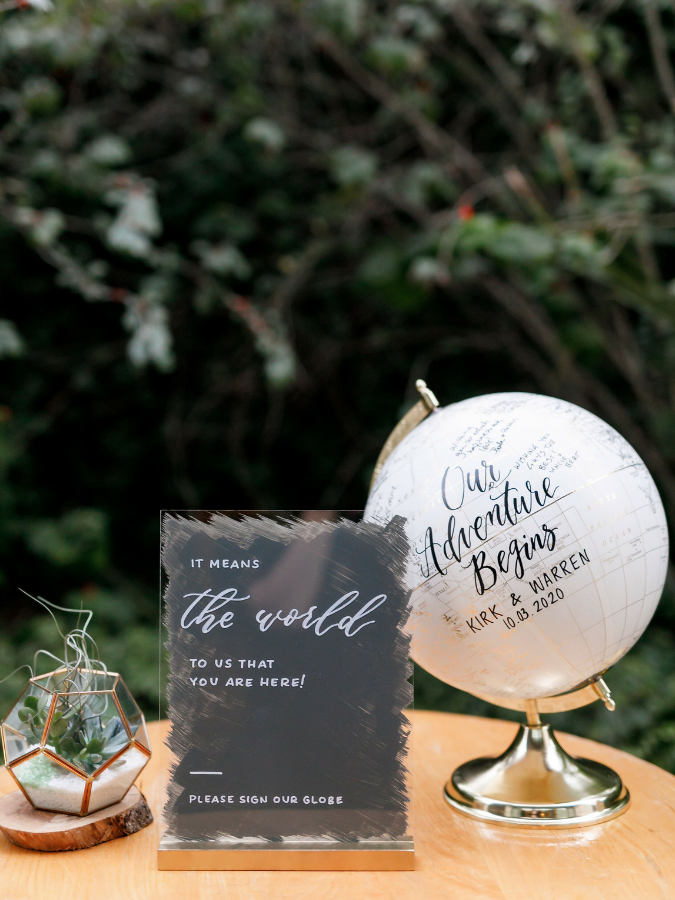 Painted globe guest book and acrylic sign