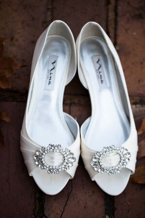 White Nina Wedding Shoes with Silver Detail