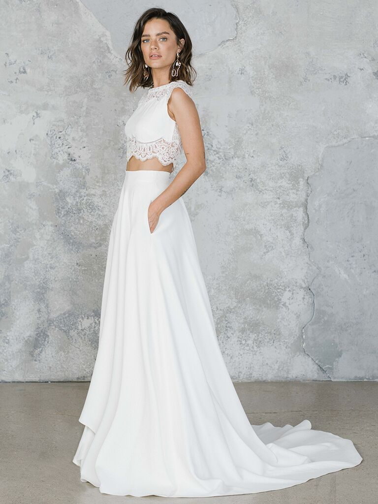 Rime Arodaky two-piece wedding dress with lace crop top