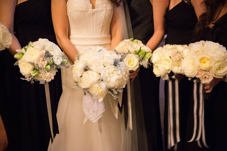 White and Green Seasonal Bridesmaid Bouquets