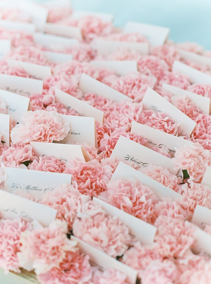 Romantic Escort Cards with Pink Carnations