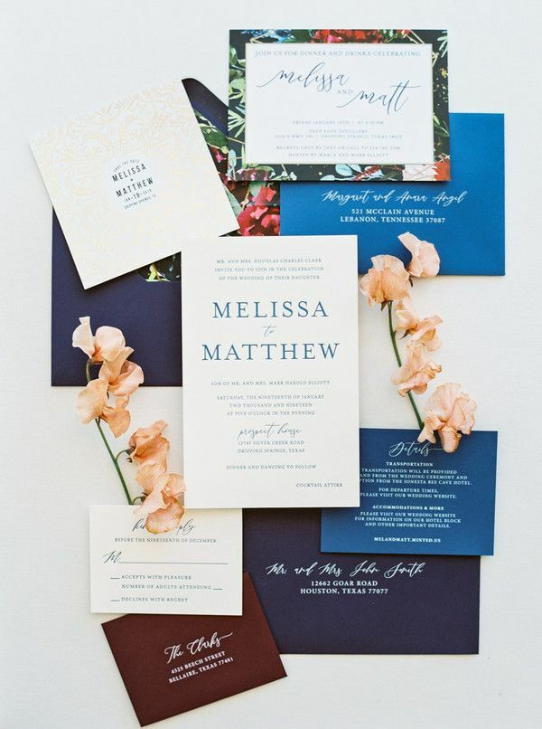 Invitation flatly styled with sweet pea blooms