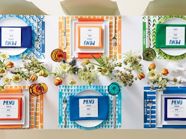 Blue, orange and green wedding color palette