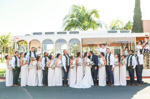 White Bridesmaid Dresses, Hawaiian Leis for Groomsmen