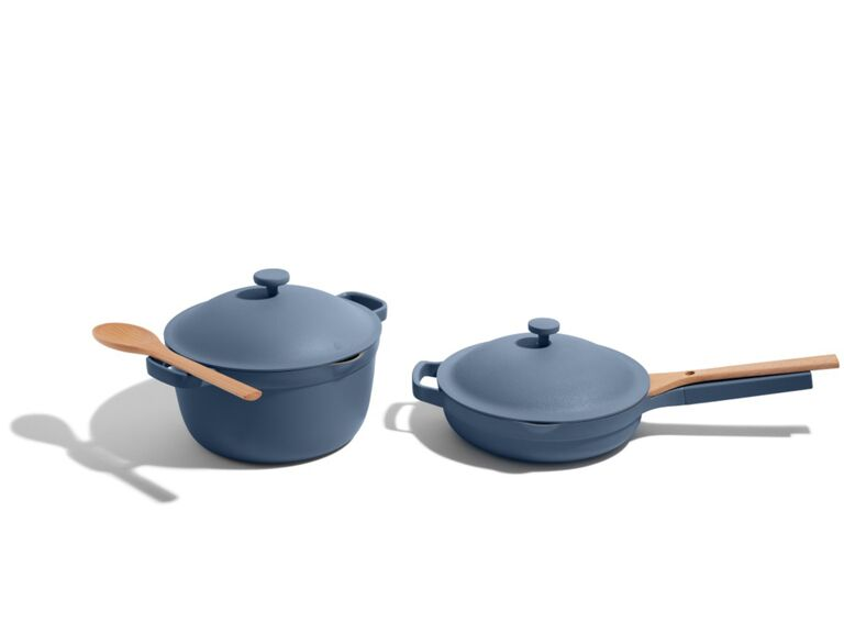 Always pot and pan in blue with wooden spoon
