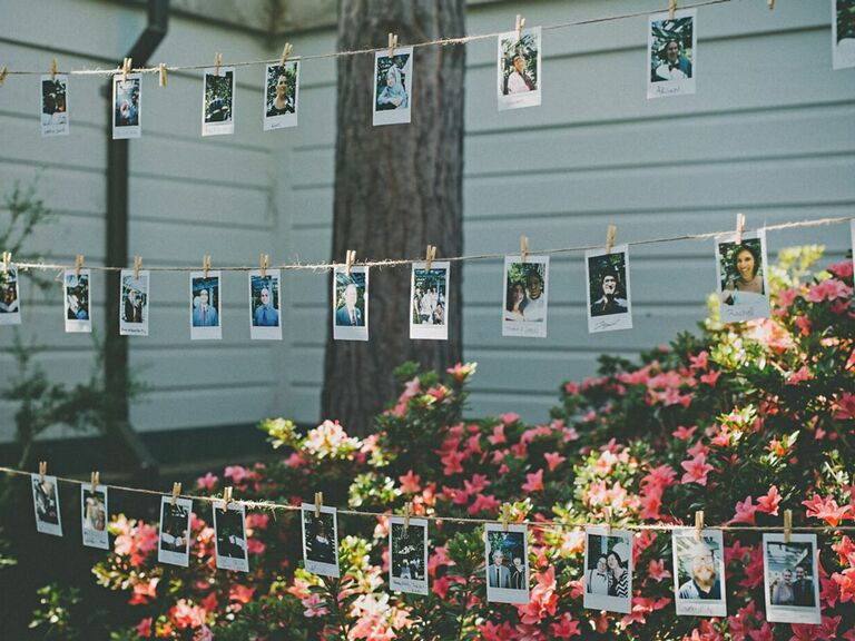 Polaroid photos of guests hanging at outdoor wedding reception