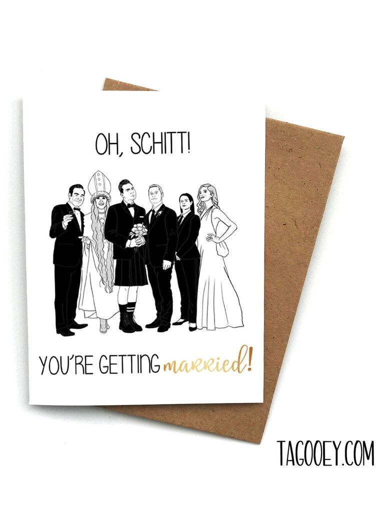 Playful black and gold type with black and white graphic of Schitt's Creek cast