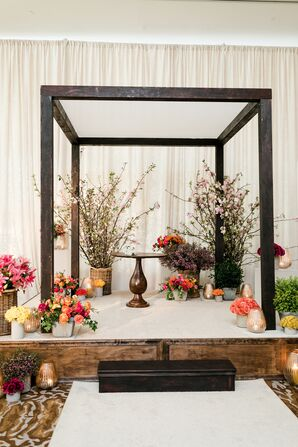 Modern Chuppah with Cherry Blossoms and Other Spring Flower Arrangements